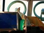 渡り鳥が操舵室で休憩中 (風が強く北北西11m)
