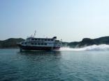 高速艇 比田勝港から釜山港へ出発です