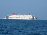 今日は本船の灘側を通過する大型フェリー 福岡港から 釜山港へ