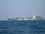 チャイナSHIPPINGライン 中国船 釜山港経由 中国へ