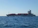 いきなり外国船 近くを 通過です ビックリです