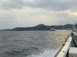 本船はやめに帰港へ 今日の高速艇ビートル比田勝港出口