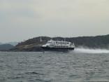 比田勝港出口灯台通過中 高速艇ビートル釜山港へ