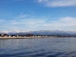 冬の富山湾から見える立山連峰