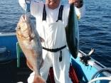 釣果5月24日午後便 ヒラマサ65センチ1本 真鯛73センチまで5枚 チダイ4枚