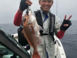 初めての船釣りで鯛を釣ったぞ~♪